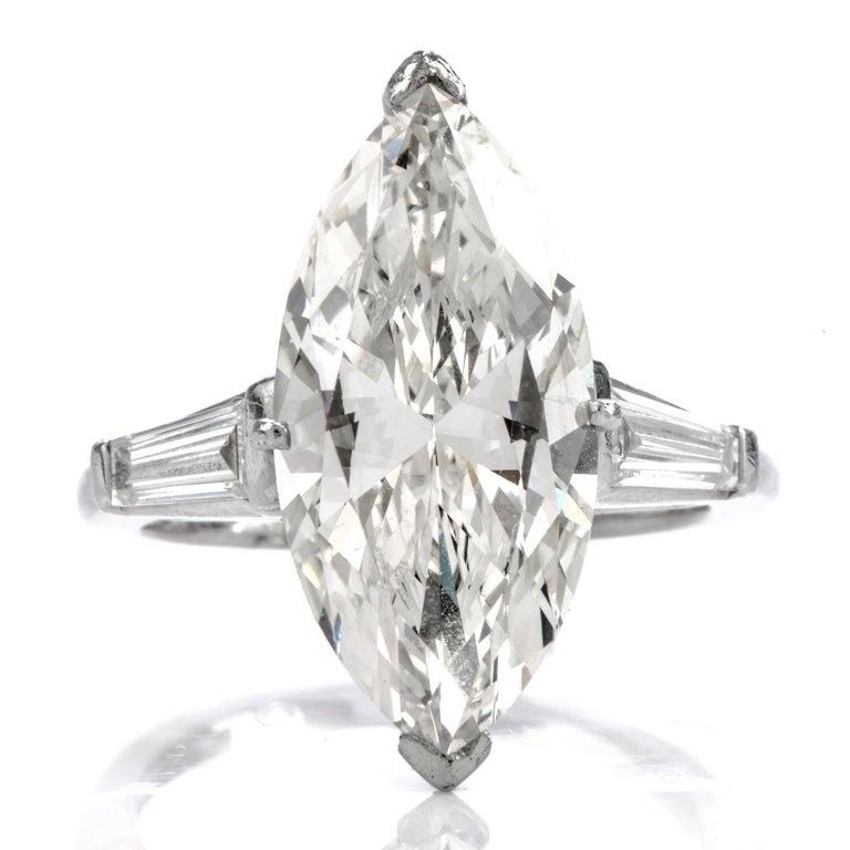 Modern Classic 6.49 Carat Marquise Diamond Platinum  Engagement Ring For Sale