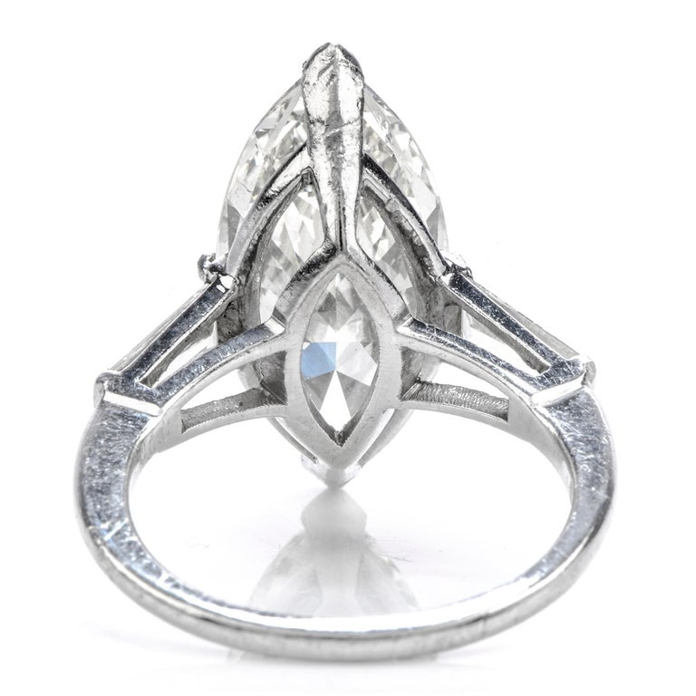 Classic 6.49 Carat Marquise Diamond Platinum  Engagement Ring In Excellent Condition For Sale In Miami, FL