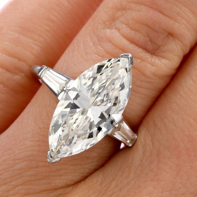 Women's Classic 6.49 Carat Marquise Diamond Platinum  Engagement Ring For Sale