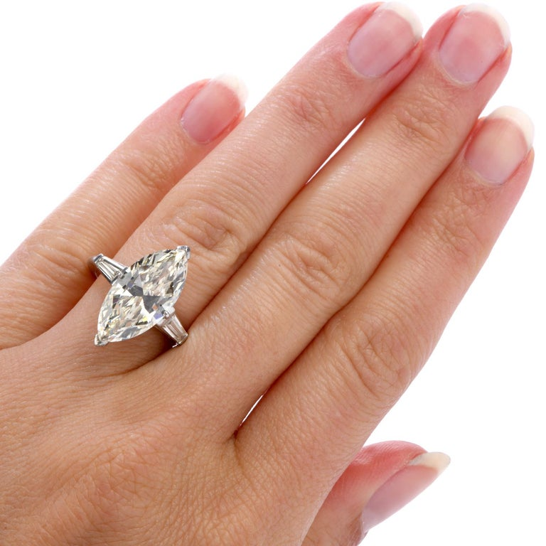 Classic 6.49 Carat Marquise Diamond Platinum  Engagement Ring For Sale 1