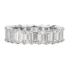 Classic 5.74 Carat Baguette Cut White Gold Eternity Band Ring