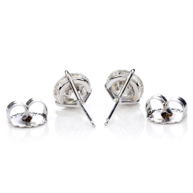 Modern Classic 6.13 Carat Diamond Studs Gold Earrings For Sale