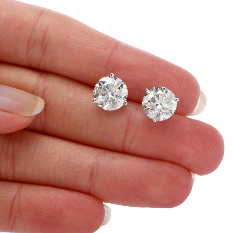 Round Cut Classic 6.13 Carat Diamond Studs Gold Earrings For Sale