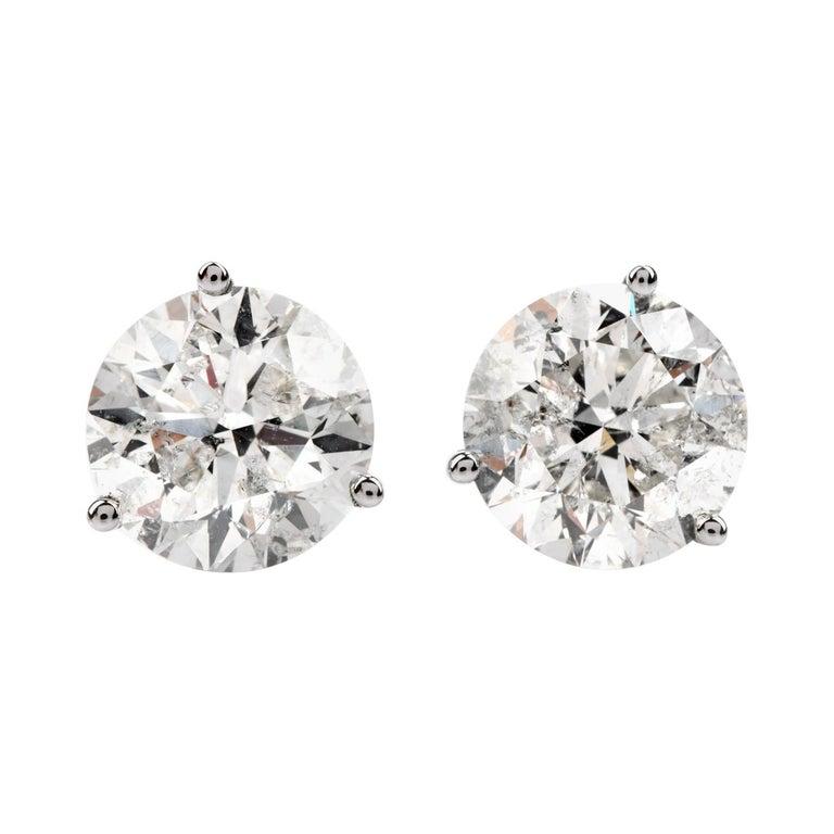 Classic 6.13 Carat Diamond Studs Gold Earrings For Sale