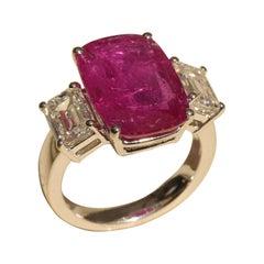 Classic 6.61 Carat Ruby Ring with 2.01 Carat Emerald Cut Diamonds