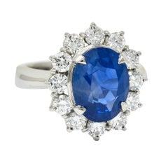 Classic 8.38 Carats No Heat Ceylon Sapphire Diamond Platinum Cluster Ring AGL