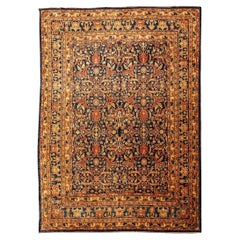 Classic Agra Rug, Palmettes and Interwoven Flowers, Blue, Red and Beige Colors