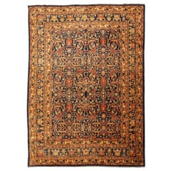 Classic Agra WoRug, Palmettes and Interwoven Flowers, Blue, Red and Beige Colors