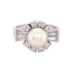 Classic Akoya Cultured Pearl and Diamond Ring in 18 Karat White Gold