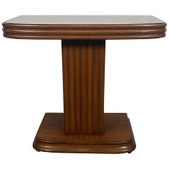 Classic American Art Deco Side Table, Peach Mirror Top