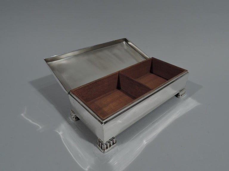 Classic American Mid-Century Modern Sterling Silver Box by Poole For Sale 1