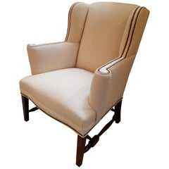 Classic American Walnut Wing Chair Newly Recovered with Brass Nail Head Trim