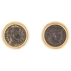 Classic Ancient Coin and Gold Bezel Earring