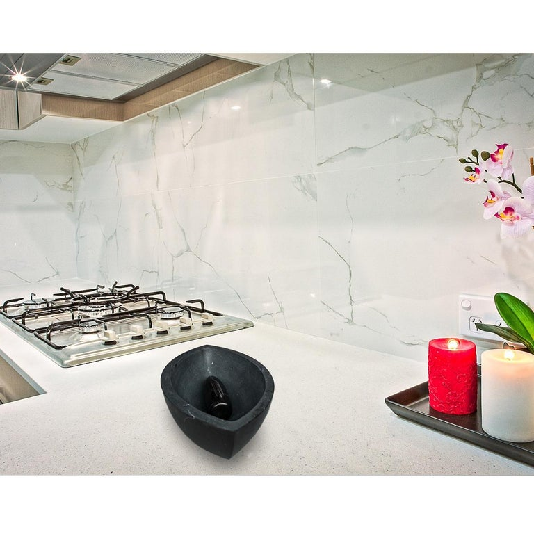 Contemporary Classic and Luxurious Black Khenifra Marocain Marble Mortar Eye For Sale