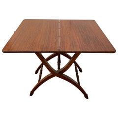 Classic and Versatile Campaign Style Mahogany Side or Dining Table