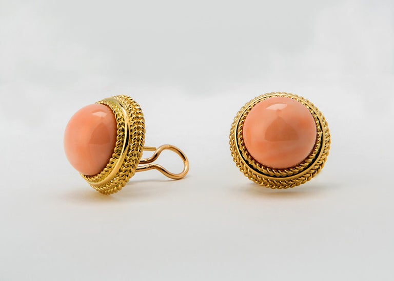 Contemporary Classic Angel Skin Coral gold Earrings For Sale