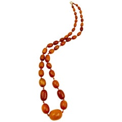 Classic Antique Butterscotch Baltic Amber and 14 Karat Gold Long Necklace