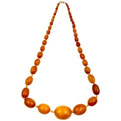 Classic Antique Butterscotch Baltic Amber and 14 Karat Gold Long Necklace