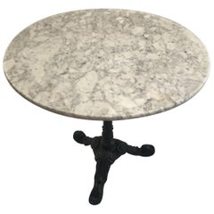 Classic Antique French Marble Round Cafe or Bistro Table