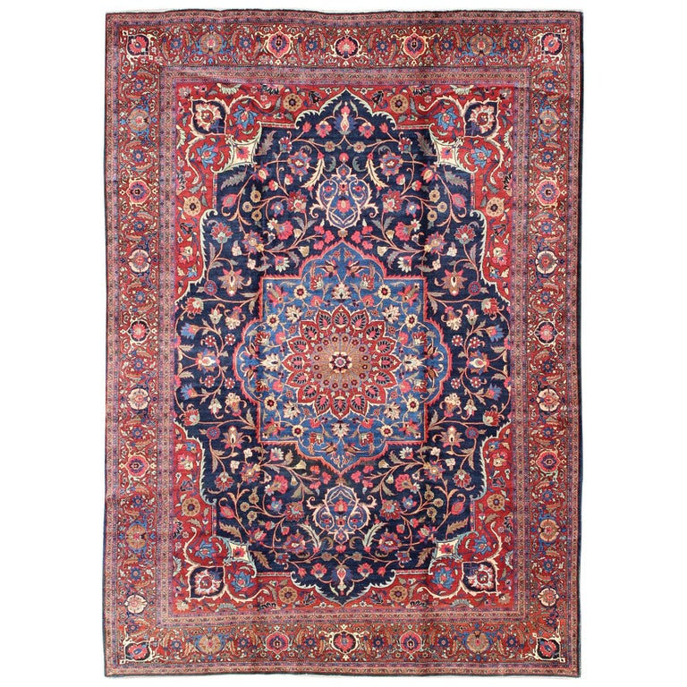 Classic Antique Persian Tabriz Rug with Medallion in Blue and Red For Sale