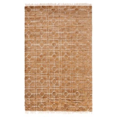 Classic Architectural Customizable Breezeblock Weave Rug in Straw Small