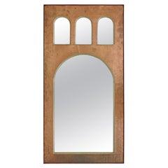 Classic Architectural Italian 1950s Copper Wall Mirror