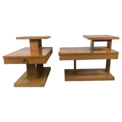 Classic Architectural Mid-Century Modern Step End Tables with Drawers by Lane