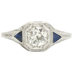 Classic Art Deco Diamond Sapphire Engagement Ring Filigree and Engraving 3 Stone