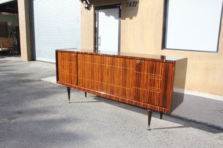 20th Century Classic Art Deco Style Macassar Ebony Sideboard / Buffet, circa 1940s For Sale