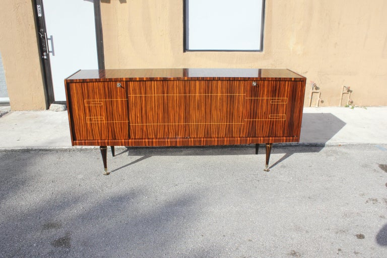 Wood Classic Art Deco Style Macassar Ebony Sideboard / Buffet, circa 1940s For Sale