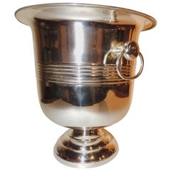 Classic Art Deco Silver Champagne Bucket with Ring Handles