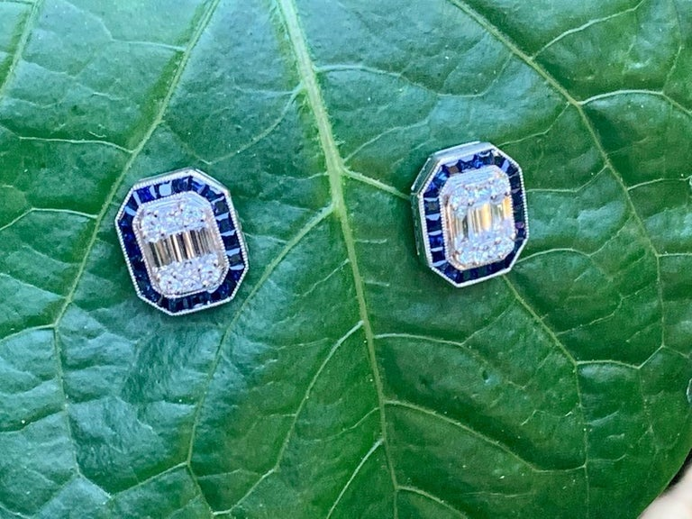 Baguette Cut Classic Art Deco Style Diamond and Sapphire Earrings in 18 Karat White Gold For Sale
