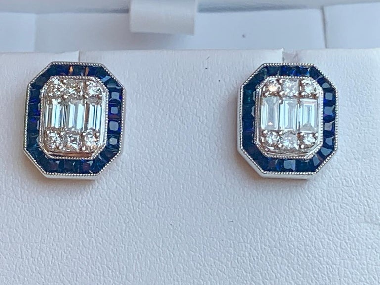 Classic Art Deco Style Diamond and Sapphire Earrings in 18 Karat White Gold In Excellent Condition For Sale In Tustin, CA