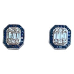 Classic Art Deco Style Diamond and Sapphire Earrings in 18 Karat White Gold
