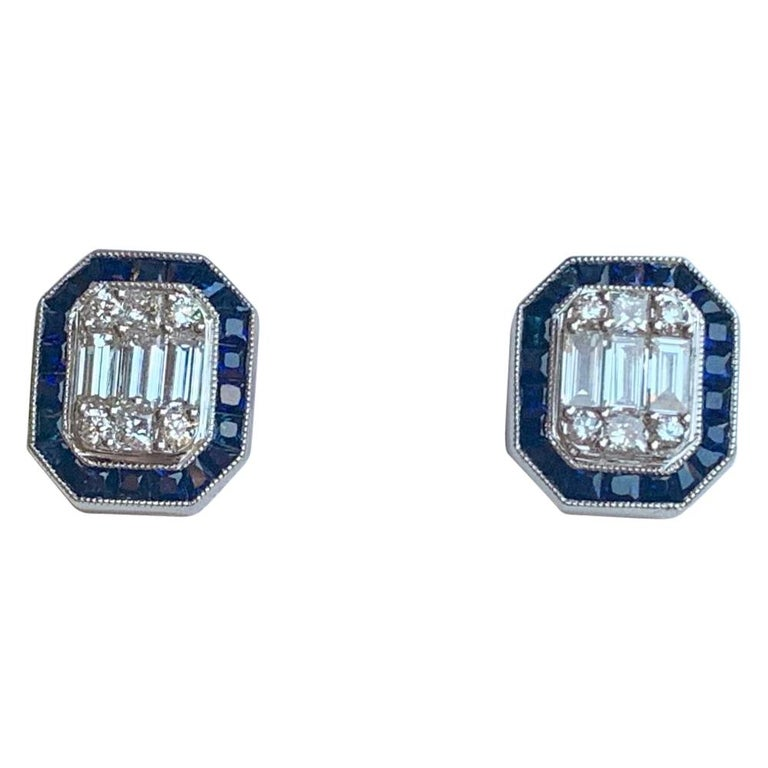 Classic Art Deco Style Diamond and Sapphire Earrings in 18 Karat White Gold For Sale