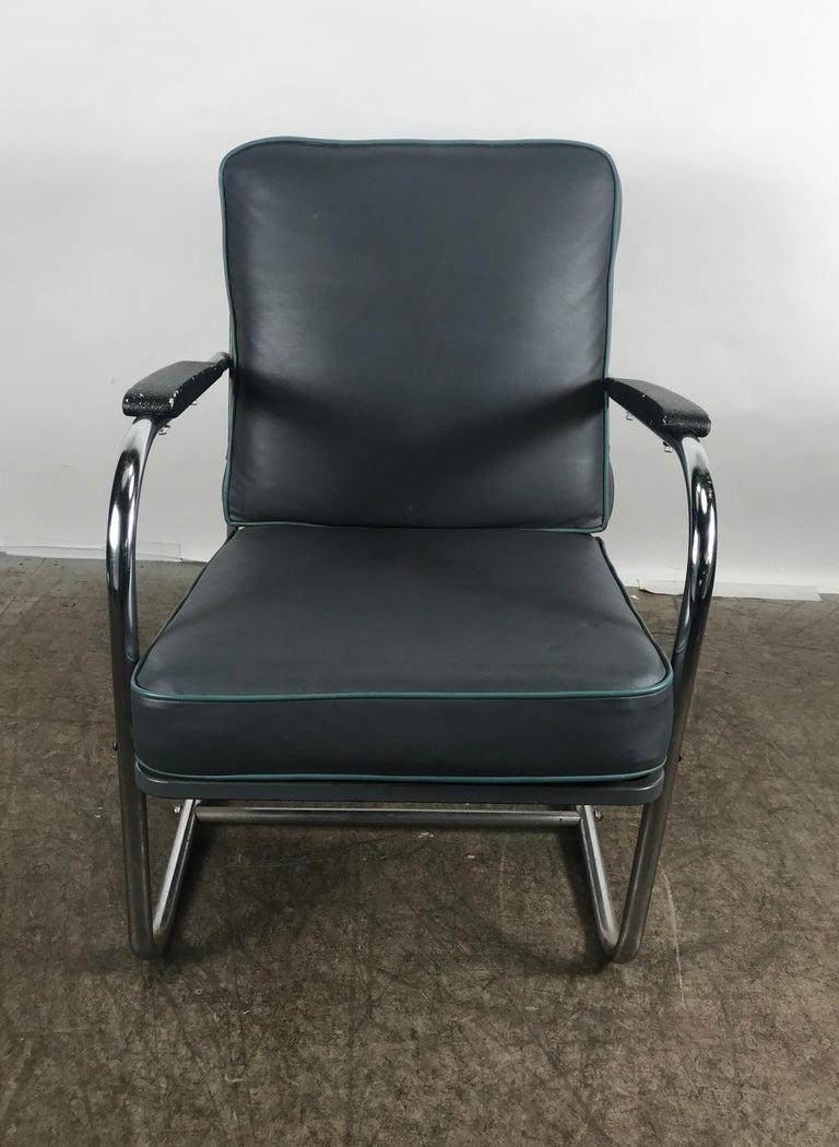 American Classic Art Deco, Bauhaus Tubular Chrome Lounge Chair For Sale