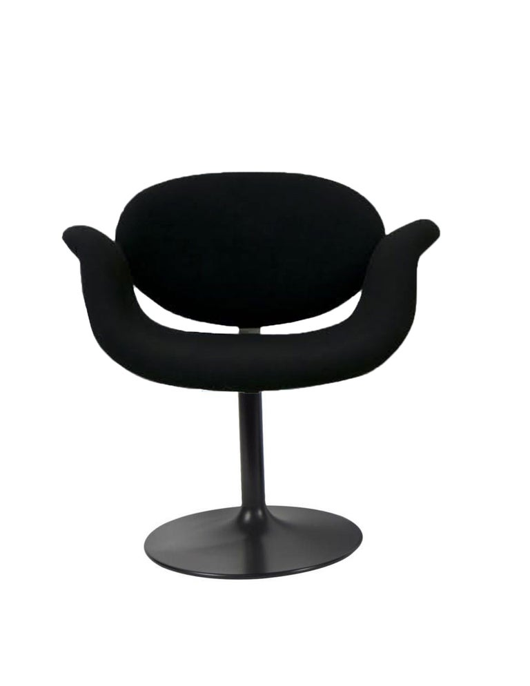 Mid-Century Modern Classic Artifort All Black Little Tulip Armchair in Raf Simons Fabric For Sale