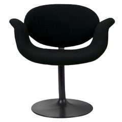 Classic Artifort All Black Little Tulip Armchair in Raf Simons Fabric