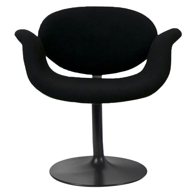 Classic Artifort All Black Little Tulip Armchair in Raf Simons Fabric For Sale