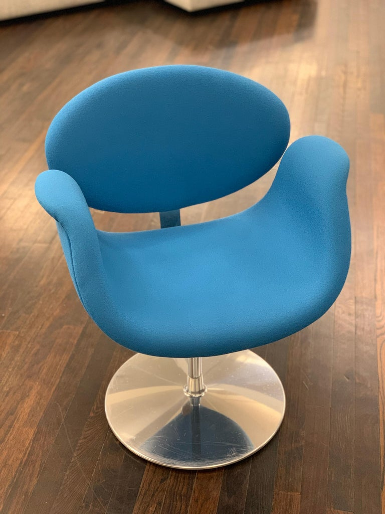 Dutch Classic Artifort Swivel Blue Little Tulip Armchair in Fabric For Sale