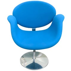Classic Artifort Swivel Blue Little Tulips Armchair in Fabric