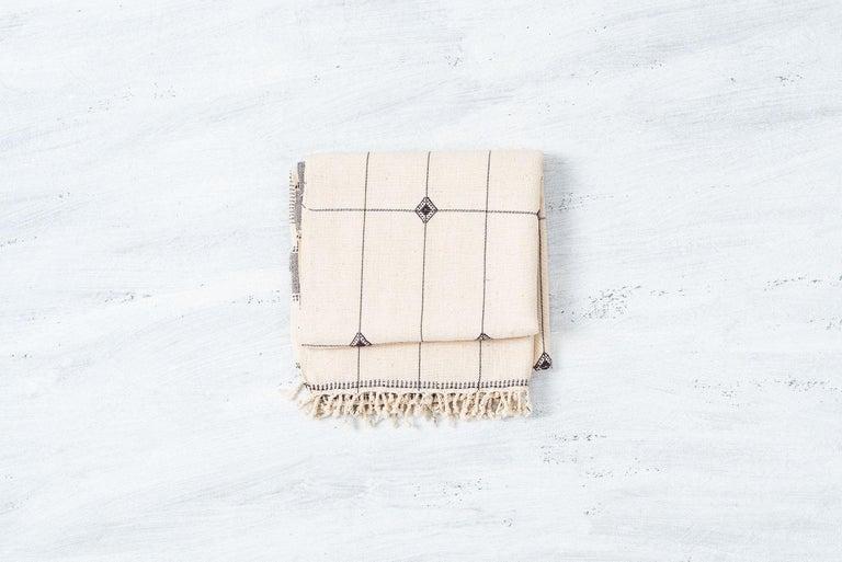 Modern Mool Handloom Throw  / Blanket in Organic Cotton For Sale