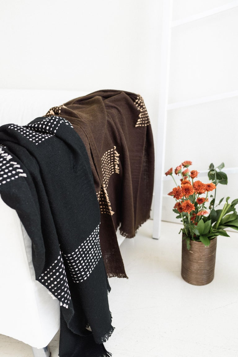Yarn WALNUT Brown Yak Throw / Blanket Handwoven and Hand Embroidered For Sale