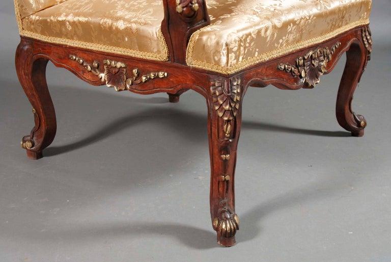 Hand-Crafted Classic Baroque Armchair in the Louis Quinze Style For Sale