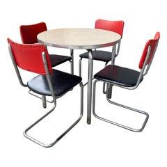 Classic Bauhaus / Art Deco Tubular Chrome Dinette / Cafe' Set