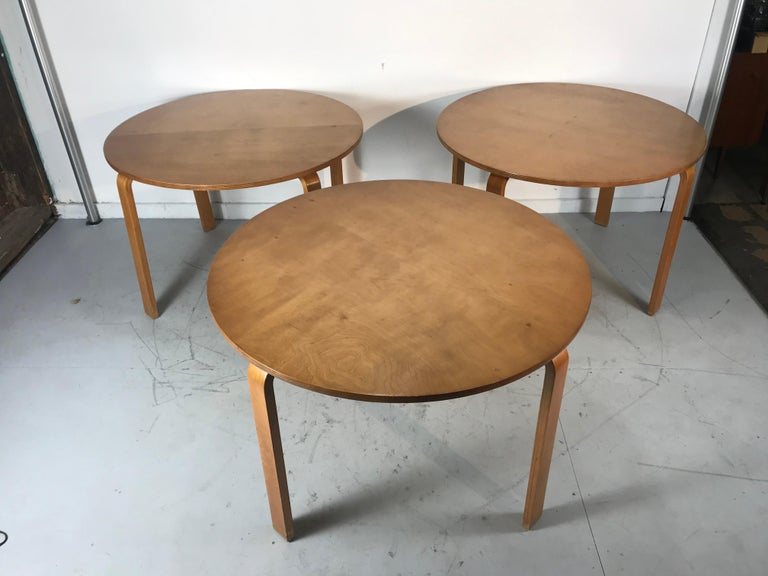 Classic bent plywood Bauhaus style dining tables attributed to Thonet, simple ,sleek design. All three tables retain original warm patina, nice original condition.