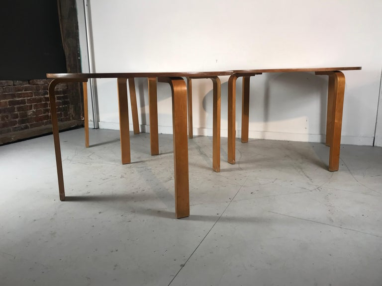 Classic Bent Plywood Bauhaus Style Dining Tables Attributed to Thonet In Good Condition For Sale In Buffalo, NY