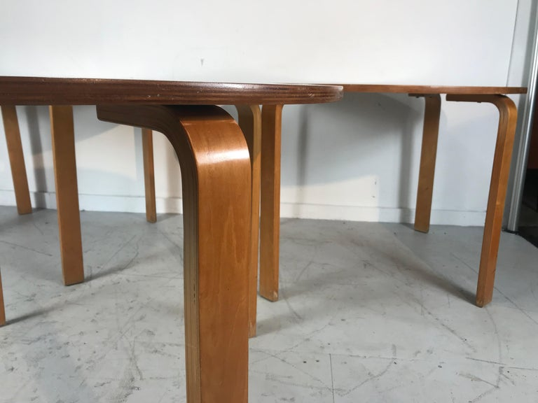 Classic Bent Plywood Bauhaus Style Dining Tables Attributed to Thonet For Sale 1