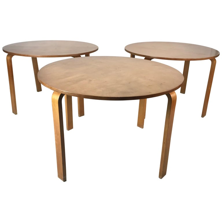 Classic Bent Plywood Bauhaus Style Dining Tables Attributed to Thonet For Sale