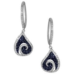 Classic Black Diamond White Gold 18 Karat Earrings